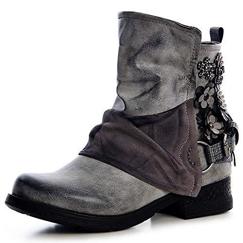 topschuhe24 1476 Damen Stiefeletten Worker Biker Boots Blume, Farbe:Grau, Größe:39 EU