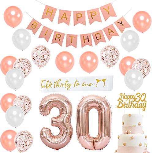 ag Dekorationen für Frauen - 30. Geburtstag Dekoration Gold Rose mit Talk Thirty to Me Schärpe, Nummer 30 Folienballon, Pink Happy Birthday Bunting ()