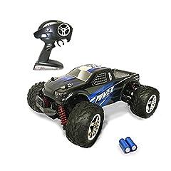 Idea Regalo - Auto Radiocomandata, 2.4Ghz RC Auto Elettriche per Bambini ed Adulti 20kmh Velocità 1:20 RC 4WD RC Monster Truck Telecomando Batterie per Cingoli per Auto Incluso blu Aggiornato (Blue)