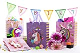 4 Pack Unicorn Kids Birthday Party Gift and Favor Bags! Decoracion De Unicornio Para Cumpleaños! for Gifts, Treats, Favors and Candy! Unique 3D Design! 4 Cute Designs in Each Pack!