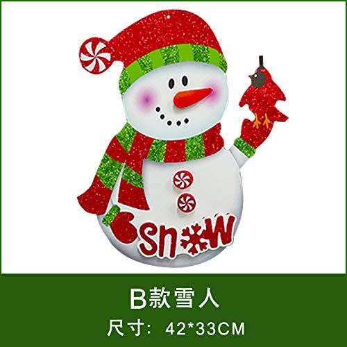HAPPYLR Weihnachtsschmuck Papier Weihnachtsmann Schneemann Ornamente 3D Stereo Aufkleber Fensteraufkleber Weihnachten Tür Hängen, B Modelle Schneemann -