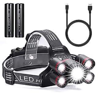 Stirnlampe LED, USB Wiederaufladbare LED Kopflampe, Dimmbar Und Wasserdicht Stirnlampe, Perfekt fürs Camping, Outdoor und Sport, inklusive USB Kabel