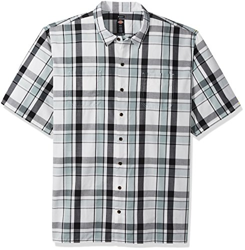 Dickies Men's Big and Tall Yarn Dyed Short Sleeve Camp Shirt, Silver/Blue/White Plaid, 5T -