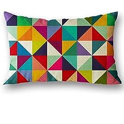 funda cojines 30cm x 50cm fundas decorativas de almohada lino de algodón de navidad decor para hogar, sofa de diseño, cama, sillas y coche, Rectángulo Geométrico Sannysis (B)