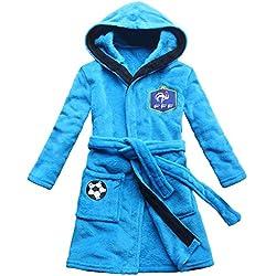 [FEETOO] Equipe de football Brodé Garçon Peignoir de bain Robe de nuit pour enfants (10, Blue)