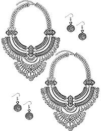 43aedfc56075 Yaomiao 2 Juegos Collar y Pendientes de Moneda Conjunto de Joyería de  Estilo Étnico Punk Collar Llamativo Boho Bohemio de Barbero…