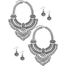 73e5f3aec286 Yaomiao 2 Juegos Collar y Pendientes de Moneda Conjunto de Joyería de  Estilo Étnico Punk Collar