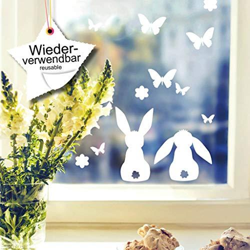 Wandtattoo-Loft Fenstersticker Süße Hasen mit Schmetterlingen und Blumen WIEDERVERWENDBAR