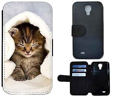 Flip Cover Schutz Hülle Handy Tasche Etui Case für (Samsung Galaxy S4 Mini i9190 i9195, 1003 Katze Katzen Baby Braun Blau