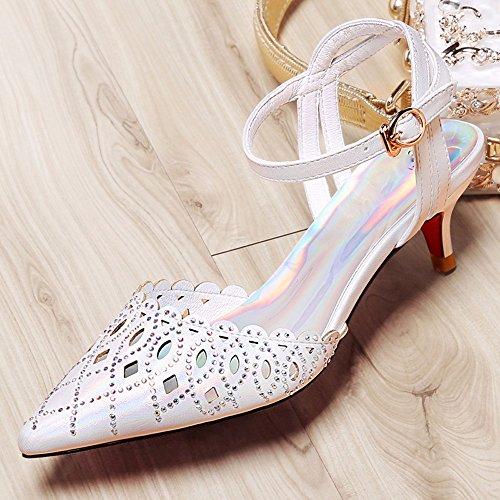 Khskx-2.5cm Sandalias De Plata Fina Mujeres Atractivas Zapatos De Verano Con Un Bajo Talón Gato Vacío Con Hebilla De Diamantes De Imitación, 36 Treinta Y Ocho