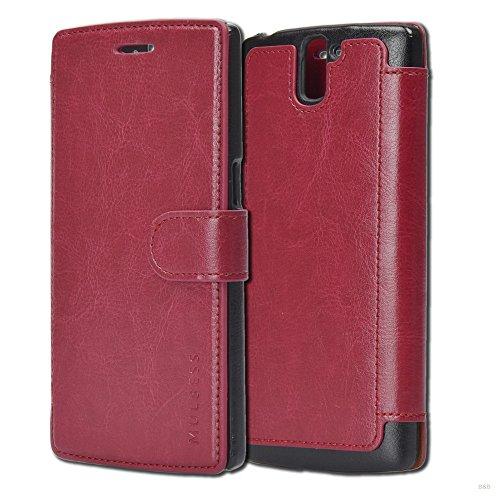 Cover libro OnePlus One,Custodia Portafoglio OnePlus One,Mulbess Custodia In Pelle Con Chiusura Magnetica Flip Cover per OnePlus One Cover - Rosso