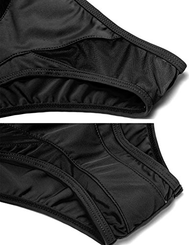 cooshional Damen Bikini Set Gepolstert Push Up Badeanzug Figurformend Nettogarn patchwork Schwarz