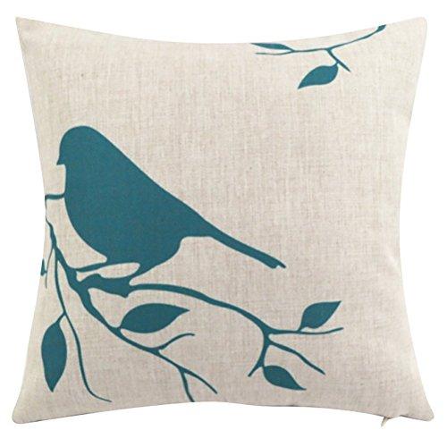 Vogel Sham (Platz Vogel Cartoon Gedruckt Kissenbezug WOMAO Baumwolle Dekokissen Fall Sham Slipover Kissen Kopfkissenbezug Für Home Sofa Couch Stuhl Rücksitz)