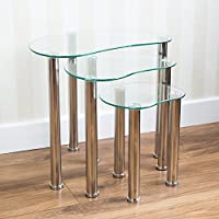 Vida Designs Cara Nest Of 3 Tables, Clear Glass Modern Furniture