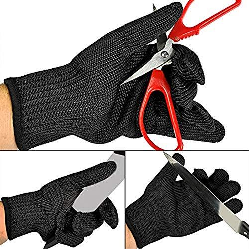 DYHQQ Messerfeste, schnittfeste Handschuhe, Anti-Schneid-Edelstahl-Maschendraht, Hochleistungsschutz der Stufe 5, Sicherheitsarbeit, für Handschutzschnitt,10pair