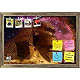 #8: ArtzFolio Great Sphinx of Giza & Small Magellanic Cloud 1 Printed Bulletin Board Notice Pin Board Cum Antique Golden Framed Painting 17.5 x 12inch