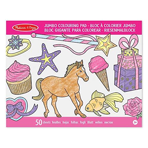 Melissa & Doug Jumbo 50 Libro da Colorare Multi Tematico G igante Colore Rosa 14225