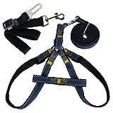 Brustgeschirr (mit Führleine + Sicherheitsgurt) Hundegeschirr Sicherheitsgeschirr Denim Leine für Haustiere Hunde verstellbare Sicherheit Leine Nylon Hunde Geschirr (L)