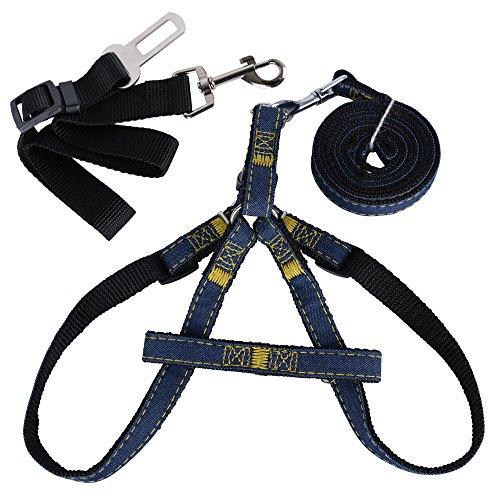 Brustgeschirr (mit Führleine + Sicherheitsgurt) Hundegeschirr Sicherheitsgeschirr Denim Leine für Haustiere Hunde verstellbare Sicherheit Leine Nylon Hunde Geschirr (M)