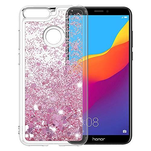 MASCHERI Hülle für Huawei Honor 7A / Y6 2018 / Enjoy 8E, Flüssig Bling Dynamisch Glitzer Kratzfest Silikon Schutzülle Schale Luxus handyschalen Shiny Cover - Rosegold