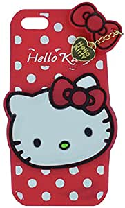 Octer Cover's For Apple iPhone 7+ Back Cover Hello Kitty Silicone With Pendant (Red)