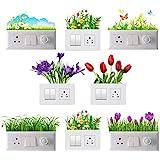 Decals Creation Vinyl Flowers Switch Board Sticker, Multicolour
