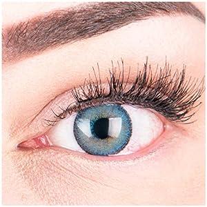 """Sehr stark deckende und natürliche blaue Kontaktlinsen SILIKON COMFORT NEUHEIT farbig """"Mirel Blue"""" + Behälter von GLAMLENS – 1 Paar (2 Stück) – DIA 14.00 – mit und ohne Stärke"""