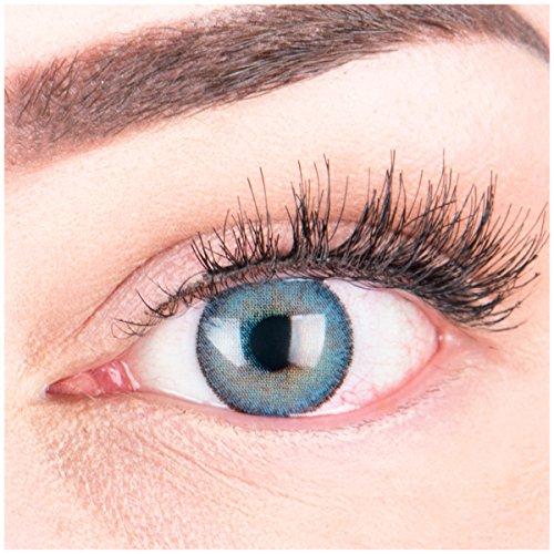 """Sehr stark deckende und natürliche blaue Kontaktlinsen SILIKON COMFORT NEUHEIT farbig \""""Mirel Blue\"""" + Behälter von GLAMLENS - 1 Paar (2 Stück) - DIA 14.00 - mit Stärke -5.00 Dioptrien"""