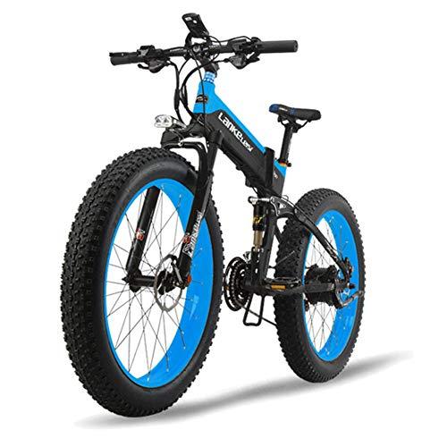 JPFCAK, Eléctrico, Bicicleta, Plegable, Montaña, Bicicleta, Neumático De Nieve 10cm, Vehículo Eléctrico...