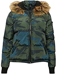 M&Co Teen Girl Long Sleeve Camouflage Print Zip Front Faux Fur Trim Hooded Padded Bomber Jacket
