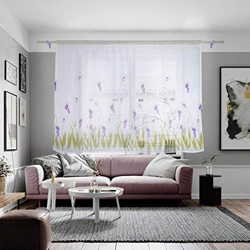 SHANGHAIXIAOTONG 1 Panel Stoff Blume Gardine Tüll Fenster Behandlung Voile drapieren Volant Cortinas Dormitorio Vorhänge für Wohnzimmer, weiß lila, 100x130cm