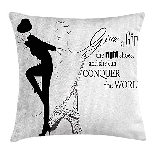 DPASIi Teen Room Decor Throw Pillow Cushion Cover, Dancing Masculine Fashion Woman by Eiffel Tower and Motivational Quote, Decorative Square Accent Pillow Case,Black White 18x18inch