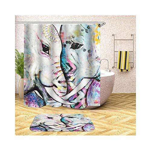 Epinki Cortina de Ducha Antimoho Colorido Dos Elefantes Love Cortinas para Baño...