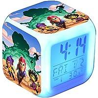 HJWL Mini Despertador Digital,Brawl Stars Reloj Alarma Con 7 Colores Luz De Noche,LED De Forma Luminosa Colorido Juguetes Para Niños Regalo, Reloj De Alarma Digital Con Temperatura