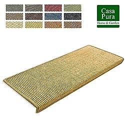 casa pura Premium Sisal Treads - Sisal Stair Tread Mats | 15 Piece Set | Natural - 25x65cm (Rectangular)