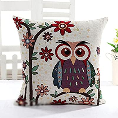 HuntGold 1X Owl Linen Cotton Decorative Throw Pillow Case Cushion Cover