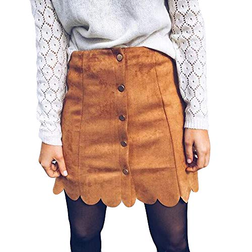 Longzjhd Damen Herbst Rock Mini Faux Leder Skirt Winter Röcke Mode Verband Wildleder Rock nahtlose Stretch engen kurzen Rock für Frauen Elegant Spitze A-Linie Skirt -