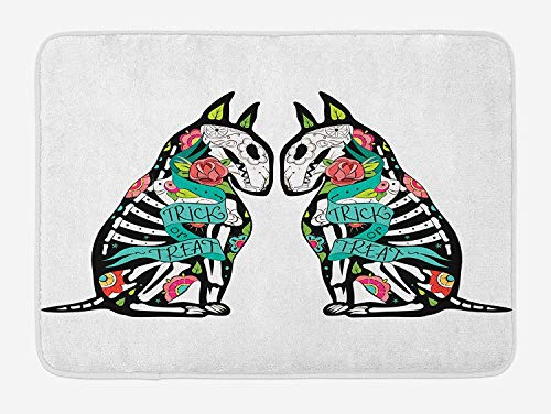 OQUYCZ Halloween Bath Mat, Skeleton Demon Figures Flowers and Trick or Treat Quote Ethnic Holiday Design, Plush Bathroom Decor Mat with Non Slip Backing, 23.6 W X 15.7 W Inches, Multicolor (Horse Halloween Skeleton)