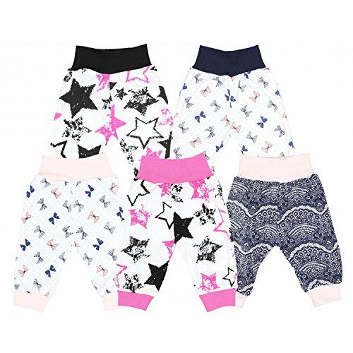 TupTam Unisex Baby Pumphose Jersey Schlupfhose 5er Pack, Farbe: Mädchen 2, Größe: 86