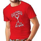 Männer T-Shirt No Pain No Gain - Kleidung für tägliche Kleidung - Fitness, Crossfit, Fitnessraum - Motivations-Sport-Zitate (Medium Rot Weiß)