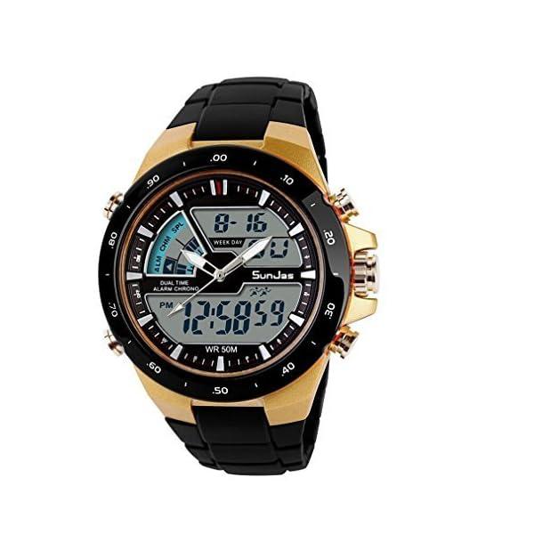 1ae311fdd3e0 Inicio   Estilos   Running   SunJas Reloj Deportivo para Hombres Resistente  contra Agua de 50m Pulsera Digital con Luces ...