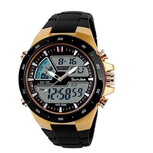 Sunjas orologi da polso sportivi 5atm impermeabile moda uomo lcd digital cronometro cronografo data dell'allarme casual sportivi wrist watch 2 time zone