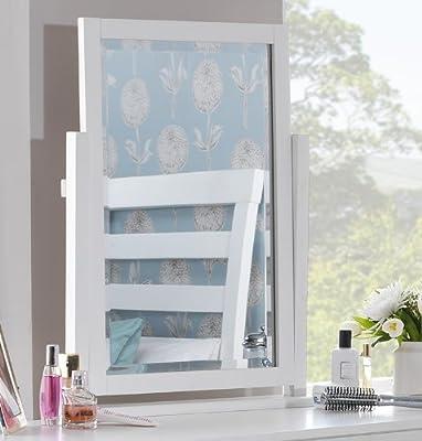 Edward Hopper white dressing table mirror. Large modern dressing table mirror with beveled glass. - cheap UK dressing table shop.
