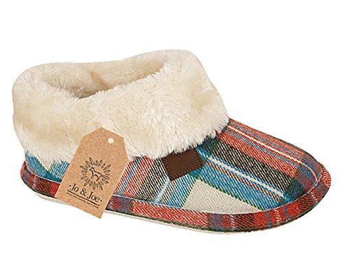 Ladies Chiltern Jo & Joe ecopelle scamosciata pelliccia di pecora collare in pile foderato pantofole taglia 3–8 Tartan