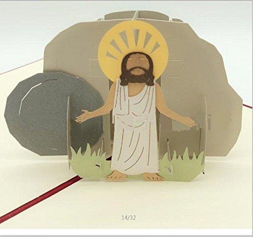 dgemachte Pop-up-Pop-Grußkarte Pop-up 3D Jesus ist auferstandene Ostern-Karte, Geburtstag, Babygeburtstaufe Taufe, Weihnachten, Housewarmingkarte, Origami Kirigami Papierfertigkeit-Kunstgeschenk ()