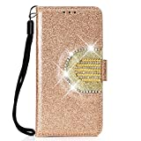 Huawei Y6 2018 Case Bling, Glitter PU Leather Wallet Phone