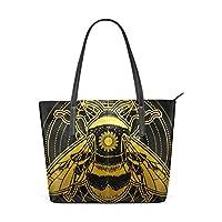 Golden Boho Bumblebee Fashion Leather Tote Shoulder Bags Handbags for Women Girls