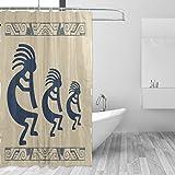 bennigiry Aboriginal Indianer showerr Vorhang Set Polyester-Wasserdicht-Badezimmer Duschvorhang Set Home Dekoration mit Haken, 66x 72L Zoll, Polyester, Multi#001, 66 x 72 Inches