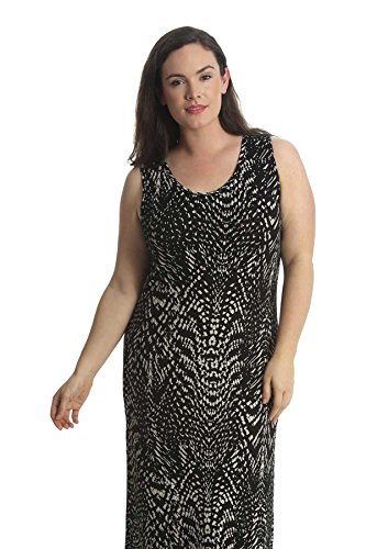 Nouvelle Collection Womens Plus Size Dress Maxi Style Ladies Skull & Roses Print Animal Print Floral Print Full Length Sleeveless Scoop Neck Mocha 22-24