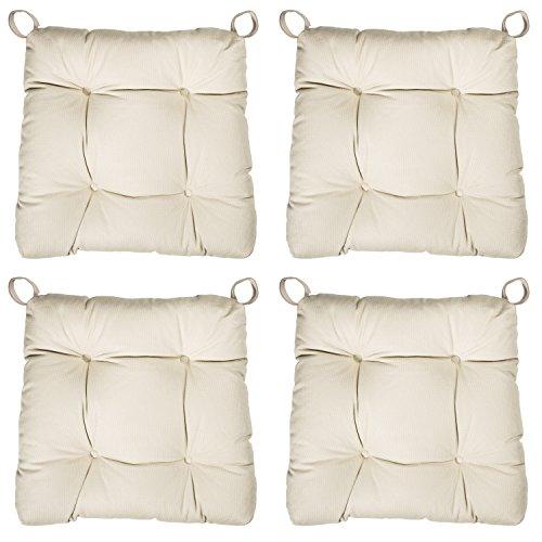sleepling 190200 Basic 20 bequemes Stuhlkissen / Sitzkissen für Indoor und Outdoor 4er Set beige